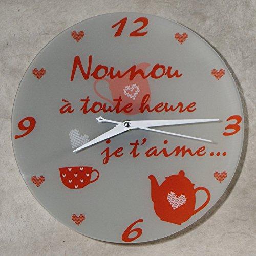 Horloge Je t'aime Nounou – Cadeau pour la fête des Nounous, Noël, Anniversaire, fin de contrat, fin d'année scolaire