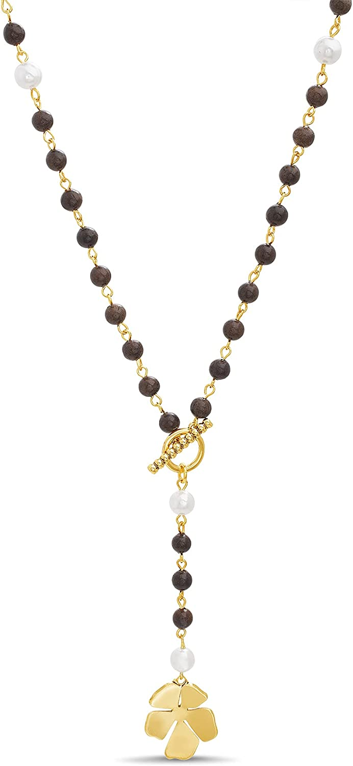 Steve Madden Yellow Flower Simulated Pearl Beaded Y Necklace for Women