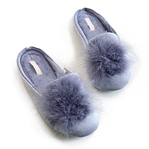 Women's Cozy Velvet Memory Foam House Slippers Non Slip Soles (7-8 M US, Blue)