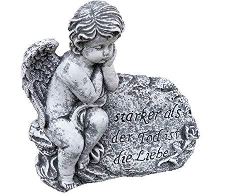 Stone and Style Grabschmuck Steinfigur Engel am Fels mit Trauerspruch, massiver Steinguss, Frost- und wetterfest