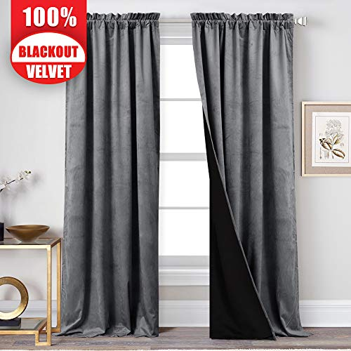 StangH 100% Blackout Velvet Curtains Lined - 2 Layers Heavy-Duty Thermal Insulated Velvet Drapes with Black Liner, Total Privacy Window Panels for Living Room, Grey, 52 x 84-inch, 2 Pcs