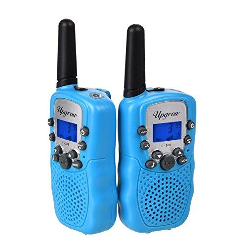Upgrow 2X Walkie Talkies Set Kinder Funkgeräte 3KM Reichweite 8 Kanäle mit Taschenlampe Walki Talki Kinder (blau)