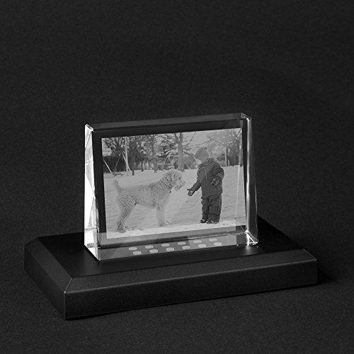Personello® Foto in Glas graviert, originelles Fotogeschenk, Glasfoto 2D Größe S=80x60x25mm, mit LED Leuchtsockel
