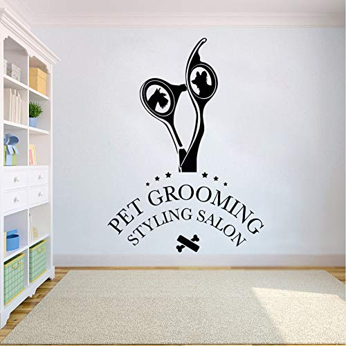 Cyalla Vinyl muursticker hondenalon styling salon muursticker Pet Shop muurschildering Groomer schaar muur raam vinyl sticker 57 * 79 cm