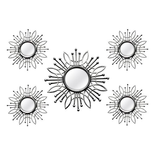 Stratton Home Decor SHD0257 5 Piece Burst Wall Mirror, Silver, 15.50 W X 0.79 D X 15.50 H