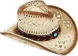 Livingston Cowboy Hat Men & Women's Woven Straw Cowboy Cowgirl Hat w/Hat Band Straw Cowboy Hats for Women Cow Boy Hat, Bead Beige