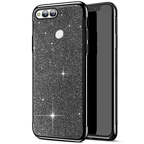 Uposao Coque pour Huawei Honor 7X Placage Métal Coque Glitter de Luxe,Silicone Paillettes Strass Brillante Glitter TPU Ultra Slim Souple Antichoc Protecteur Étui pour Huawei Honor 7X,Noir