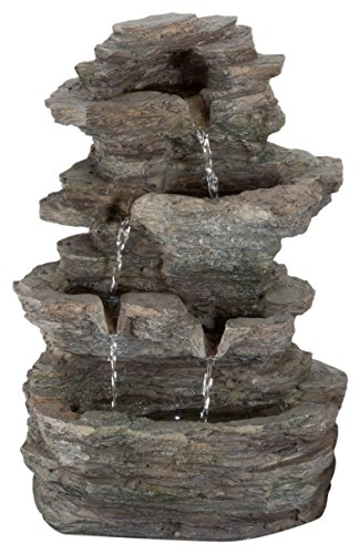 Tabletop Water Fountain with Cascading Rock Waterfall and LED Lights - Tiered Stone Table Fountain By Pure Garden (Office Patio and Home DÃcor)