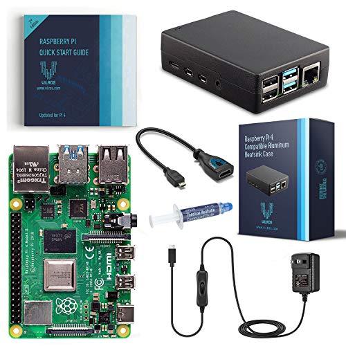 Vilros Raspberry Pi 4 Basis-Starter-Set mit strapazierfähigem, selbstkühlendem Gehäuse aus Aluminiumlegierung (8 GB schwarzes Gehäuse)