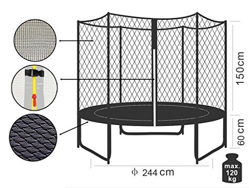 SixBros. SixJump 2,45 M Trampolino Elastico da Giardino Fuchsia - Scaletta - Rete di Sicurezza - Copertura Anti-Pioggia TP245/1610