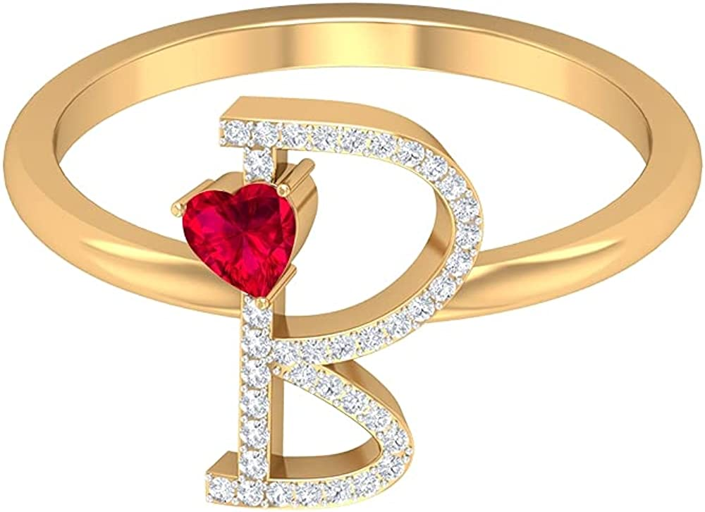 Ruby and Diamond Ring 0.43 CT, Letter B Ring, Gold Alphabet Jewelry (3.5 MM Heart Shaped Ruby), 14K Yellow Gold, Size:US 12.0