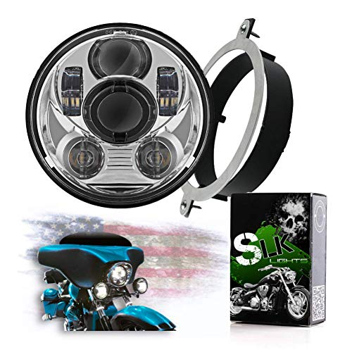 SLK-Customs VTX 5.75 inch Chrome Round LED Projector Daymaker Headlight with Bracket and Hardware – Easy to Install, Plug and Play Motorcycle Headlight compatible with Honda VTX 1300, VTX 1800