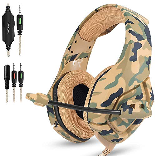 AFUNTA Auriculares Gaming para PS4 Nuevo Xbox One PC Mac, ONIKUMA Over Ear Auriculares de 3.5mm con micrófono Cancelación de Ruido Deep Bass Estéreo Surround para Juego Camuflaje