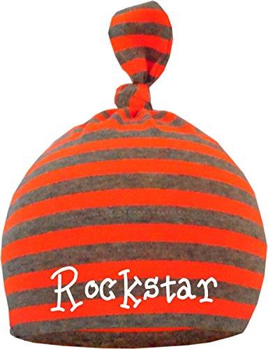KLEINER FRATZ Baby Mütze Bedruckt mit Rockstar/ENGL (Farbe Neonorange/grau) (Gr. 12-36 Monate)