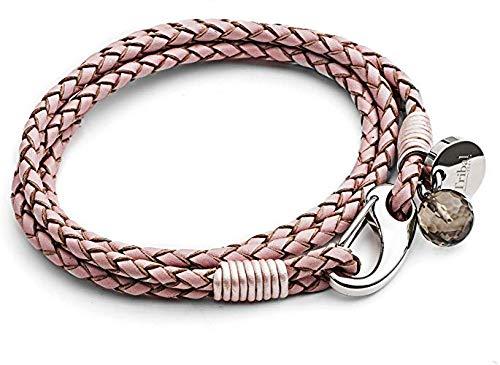 Rosa XL Lederarmband für Frauen, 4-strängiges Lederarmband mit Garnelenverschluss, Kristallanhänger + Disc. XL Größe 21cm, von Tribal Steel