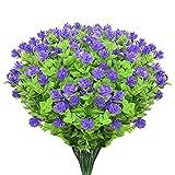 Boic Flores Artificiales Exterior, 10 pcs Resistente a los Rayos UV Flores Falsas Plástico Realista para el Hogar Jardín Patio Granja Decoraciones - Morado