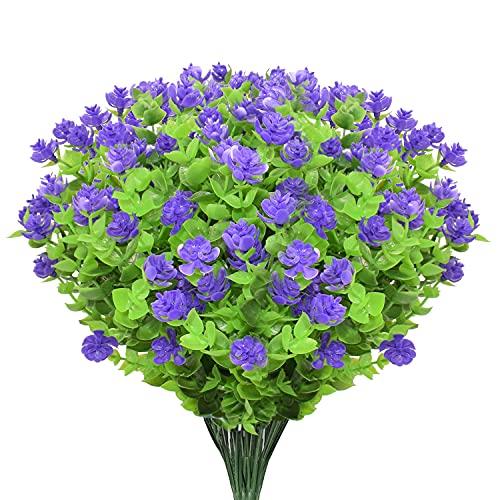 Boic 10 pcs Plantas Verdes Artificial Hojas Arbusto para Exterior, Retirable, Artificiales Decoracion Plastico Plantas Flor para Decoración de Fiestas, Bodas, Jardín, Hogar, Oficina (Flor Purpura)