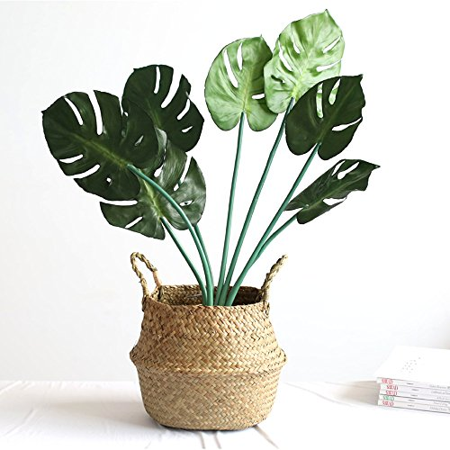 WCIC Faltbar Handwerk Weben Bauch Korb, Natürlich Seegras Lagerung Oganiser Pot Blume Vase Hängend Korb Mit Griff (Kleine Größe 7,87