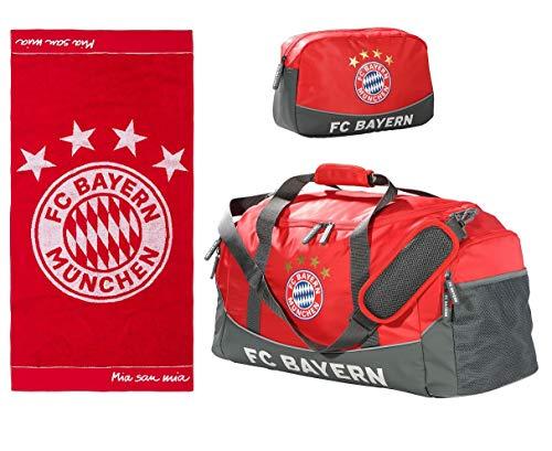 Sport-Set FC Bayern München Sporttasche mit Kulturbeutel und Handtuch Emblem 50 x 100 cm
