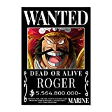 One Piece Anime Old Era Pirates Wanted Poster, Roger