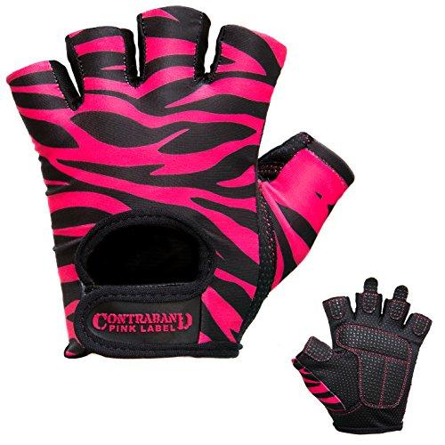 Contraband Pink Label 5277 Womens Design Series Zebra Print Lifting Gloves (Pair) - Lightweight Vegan Medium Padded Microfiber Amara Leather w/Griplock Silicone (Black/Pink, Large)
