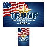 QSUM Donald Trump 2020 Hut und Fahne, Set mit 1 x 0,6 m Trumpfflagge und 1 x Trumphut und 8 Handfahnen Flagge und Gartenflagge, 7,6 x 1,52 m