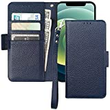 Bocasal Wallet Case for iPhone 12/12 Pro, Genuine Leather Support Wireless Charging RFID Blocking Flip Case Card Slots Holder, Kickstand Book Folding Folio Cover with Wrist Strap 6.1 Inch (Dark Blue)
