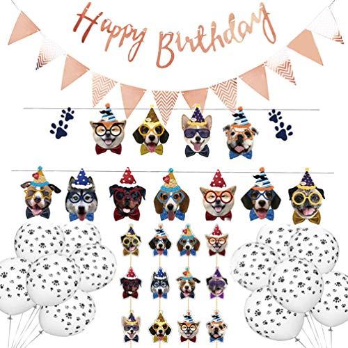 Amosfun Banner de cumpleaños para Perros Toppers y Globos para Pasteles para Perros Conjunto de Banners de Feliz cumpleaños para decoración de cumpleaños para Perros (Oro Rosa)