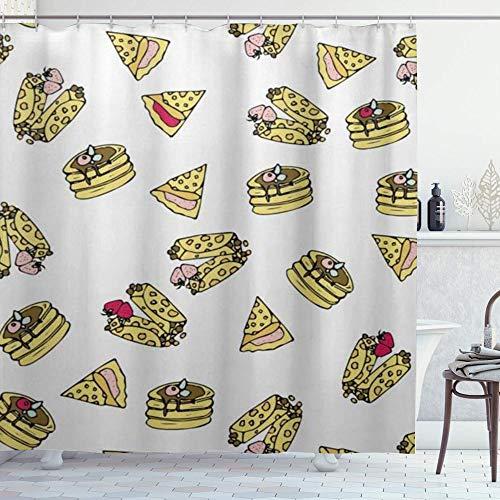 DYCBNESS Duschvorhang,Pizza Kuchen Hot Dog Muster einzigartig,Vorhang Waschbar Langhaltig Hochwertig Bad Vorhang Polyester Stoff Wasserdichtes Design,mit Haken 180x180cm