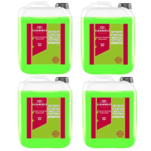 Cleanerist Flüssigwaschmittel Premium Waschmittel mit Apfel-Duft | 4x5 Liter Vollwaschmittel Grosspackung | bis zu 440 Waschladungen color weiß schwarz