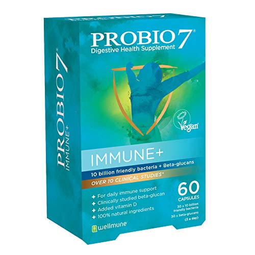 Probio7 Immune+ | 10 Billion Friendly Bacteria + Beta-Glucans + 25μg Vitamin D | for Daily Immune Support | 60 Capsules