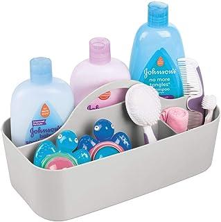 mDesign panier de rangement bébé en plastique avec 6 compartiments – rangement enfant avec poignée – boite de rangement po...