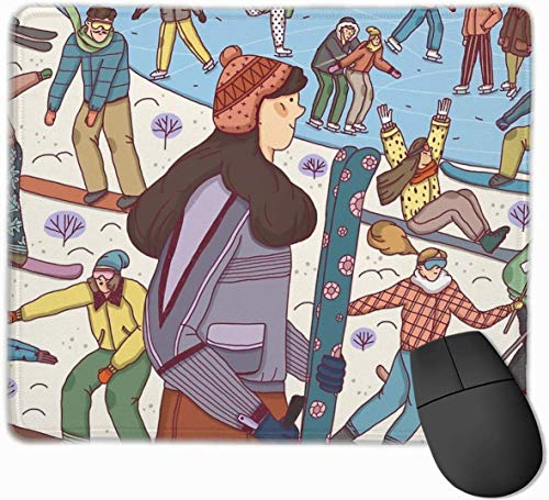 Meisje Winter En Snowboard Gaming Mouse Pad Niet-slip Rubber Mousepad voor Computers Desktops laptop Mouse Mat 9.8