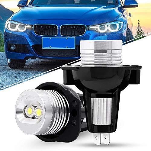 Biqing 2 Stück passend für E90 E91 Angel Eye-Leuchtmittel, 12 V Angel Eyes, LED-Lichter, 6 W LED Halo-Ring-Markierungsleuchte 6000 K, keine Fehlermeldung für Auto Angel Eyes (3er-Serie, 2005–2008).