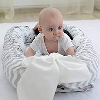 Baby Nest Baby Lounger for Newborn Co-Sleeping,Soft Cotton Breathable and Portable Infant Floor Seat for Crib & Bassinet,
