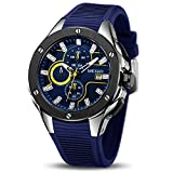 MEGIR Men's Sports Analogue Army Military Chronograph Luminous Quartz Watch with Stylish Blue...