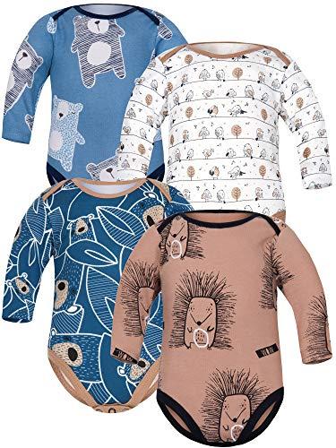 Sibinulo Jungen Mädchen Body Langarm 4er Pack Beige Wiese Marineblau trägt auf den Blättern Igele Marineblau Bären 80(9-12 Monate)