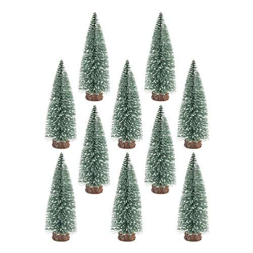 BESPORTBLE 10 pack mini weihnachtsbaum dekor ornamente mit schneebedeckten kiefern diy tisch desktop dekoration für zu hause shop-5 cm