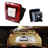 iJDMTOY 72-002-Red Clear Lens Bumper Fog Light Kit for 2009-19 Nissan 370Z & 2013-17 Juke Nismo, Powered by Red Brake/Rear Fog & White LED as Backup Reverse Lamp