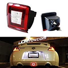 Compatible with 2009 and up Nissan 370Z, 2013-2017 Nissan Juke Nismo version and 2017-up Nissan Sentra Nismo ONLY Replacing OEM part 26582-3GY0A or the USDM bulb-less red housing Powered by 8 pieces high power LED diodes (4 red LED for brake/rear fog...