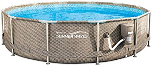 Summer Waves 12ft x 30in Active Round Above Ground Frame Outdoor Swimming Pool with Filter