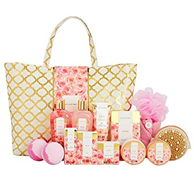 Spa Luxetique Rose Spa Gift Baskets for Women, Premium 15pc Gift Baskets fro Women, Luxury Home Spa Gift Set with Rose Massage Oil, Shampoo Bar, Body Lotion, Body Brush. Best Gift Sets for Women