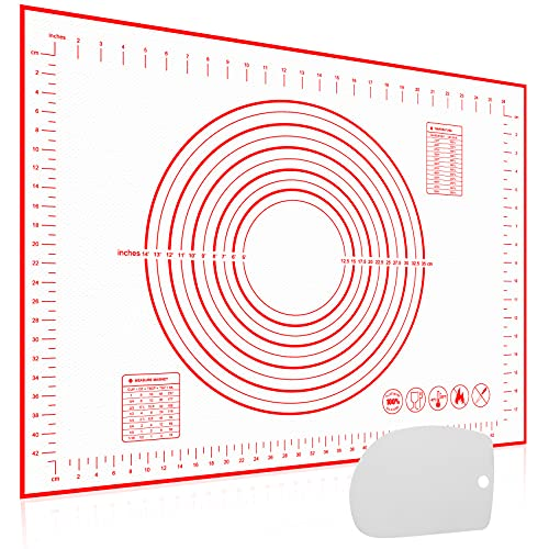 Silikonmatte Antihafte Groß 70x50 cm, Backmatte Fondant Silikon Backmatte mit Messung, Teigmatte Backunterlage Silikon rutschfeste mit Teigkarte Wiederverwendbar für Macarons, Plätzchen, Pizza Teig