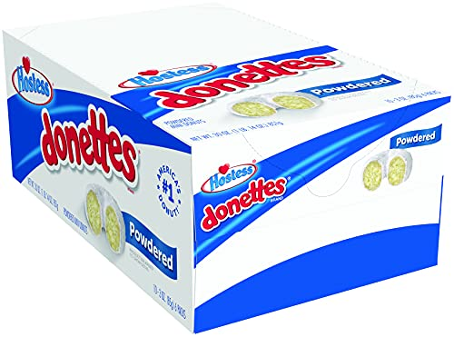Hostess Donettes Mini Donuts, Powdered, 3 ounce (Pack of 10)