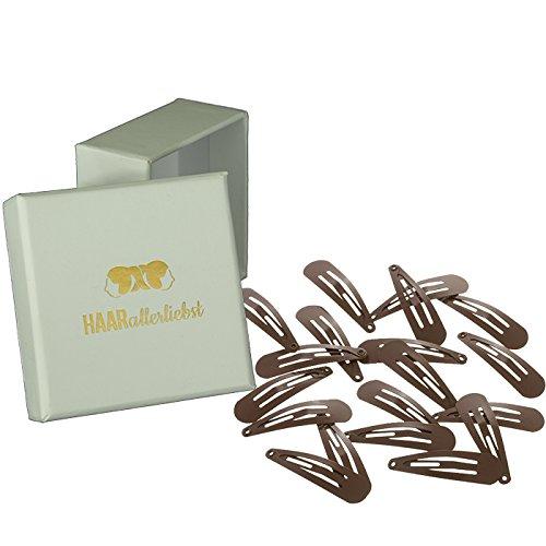 HAARallerliebst Haarspangen klein (20 Stück   braun   3,9cm) inkl. Schachtel zur Aufbewahrung (Schachtelfarbe: weiss)