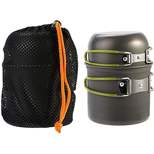YuKeShop Juego de utensilios de cocina al aire libre, juego de ollas de aleación de aluminio compacto con asa plegable con bolsa de almacenamiento para acampar al aire libre supervivencia