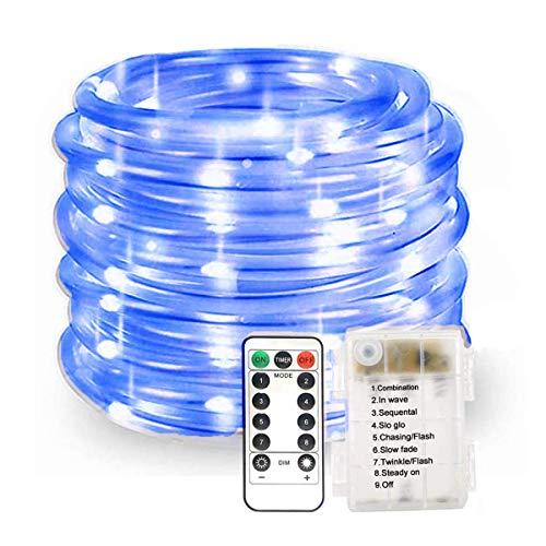 100LED Lichterschlauch Seil Lichter,KINGCOO Wasserdichte 33ft/10M 8 Modi Batteriebetriebene Streifen Fee Lichterketten für Innen/Außen Garten Weihnachten Dekolicht (Blau)