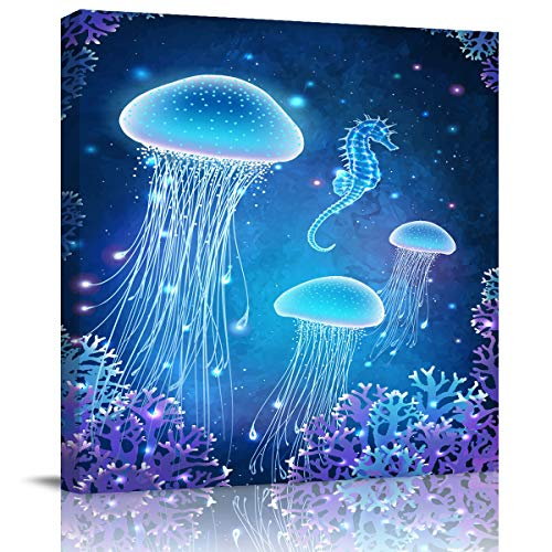 Square Wall Art Canvas Oil Painting, Shining Marine Life Jellyfish Coral Hippocampus Office Artworks for Bedroom Living Room Bathroom Home Decor, Stretched and Wooden Framed Ready to Hang, 12x12 Inch