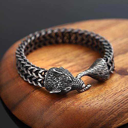 Pulsera vikinga de cabeza de lobo de acero inoxidable para hombre, joya de brazalete, cadena de eslabones resistentes nórdicos, amuleto vintage païano, joyas pulidas, color negro