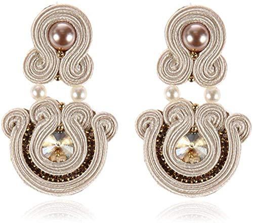 Gymqian Women Handmade Earrings Ethnic Style Leather Drop Earrings Jewelry Women Soutache Handmade Weaving Big Hanging Earring Party White Retro/White